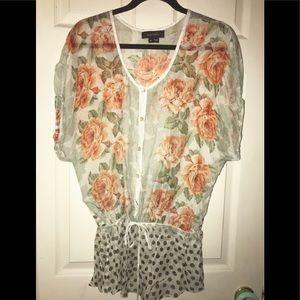 KAREN KANE floral silk top